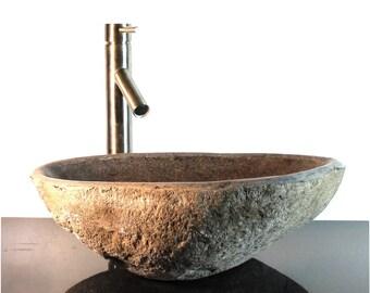 Riverstone Granite Boulder Vessel Sink Counter Top Bathroom Bar Wbt9