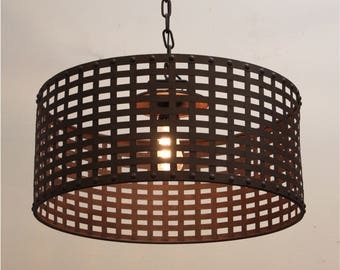 Woven Iron and Rivets Large Pendant Chandelier Modern or Gothic Rust Finish