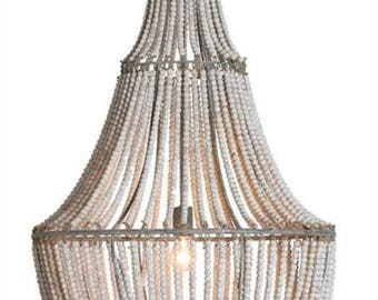 "Big Wood and Metal White Washed Beaded Chandelier 42"" Tall Light High Design"