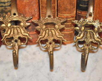 Antique Large French Brass Cherubs Crown Beehive Wall Hook Hardware 3 Available