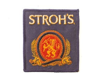 "Vintage Stroh's Beer Drinking Alcohol Bar Lion Embroidered Patch 3.5"" x 3"""