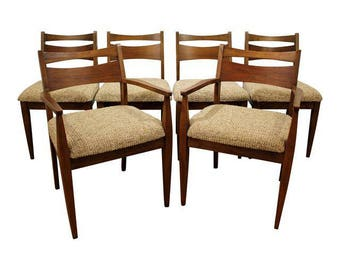 Set of 6 Mid-Century Danish Modern American of Martinsville Walnut Dining Chairs