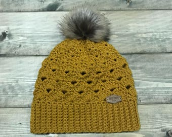 Crocheted Mustard Yellow Beanie with Faux Fur Pompom