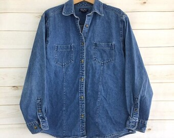 Vintage Eddie Bauer Denim Button Up Shirt Women's Large Tall