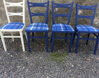 4 Kitchen chairs upcycled shabby chic