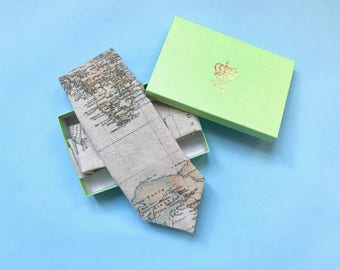 Vintage map tie, map necktie, cartography, wedding tie, groomsmen gifts, valentine's day gift, gifts for him, quirky tie, cravat