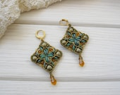 Beaded boho Earrings, Mediterranean orange green earrings, antique earrings, exclusive handmade hook earrings, summer jewelry, OOAK gift