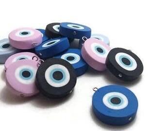 Greek Evil Eye, Big Evil Eye, Evil Eye Charm, Jewelry Centerpiece, Good Luck Decor, Clay Charm, Eye Centerpiece, To Mati, Packs 5, 10
