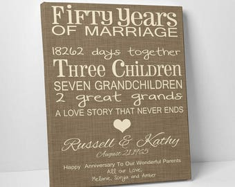 Typography 50th Anniversary Gift, Fun 50th Wedding Anniversary Canvas or Print, Parent's Anniversary Gift, A Love Story That Never Ends