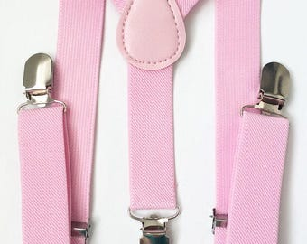 FREE DOMESTIC SHIPPING! Light Pink Y-Back suspenders fit 6 months to 6 years old