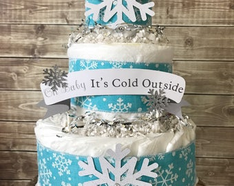 Winter Baby Shower Centerpiece, Baby It's Cold Outside Diaoer Cake, Snowflake Baby Shower Decorations