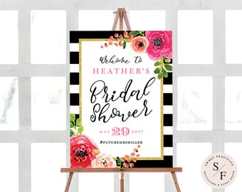 Bridal Shower Sign, Bridal Shower Welcome Sign, Black and White Striped Bridal Shower, Pink Floral Bridal Shower, Wedding Shower, Printable