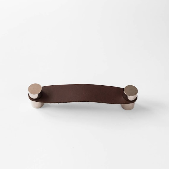 Cassidy Handle - Nickel Plated + Dark Brown Leather