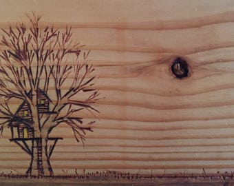 Woodburned Treehouse Sketch on Wood Plate