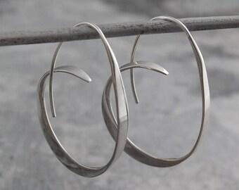 ON SALE NOW Silver Hoop Earrings, Silver Earrings, 925 Silver Earrings, Hoops - Silver Hoops, Unusual Hoop Earrings, Large Hoops, Modern Hoo