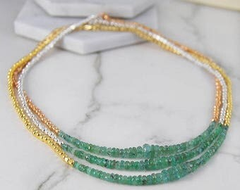 ON SALE NOW Emerald Necklace, Gemstone Necklace, Green Emerald Necklace, Gold Jewelry, Silver Necklace, Layered Necklace, Birthstone Necklac