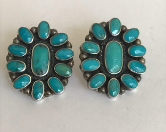 Navajo Turquoise Sterling Earrings 925 Silver Vintage Tribal Native Jewelry Birthday Christmas Anniversary Holiday Mother's Valentine's Gift