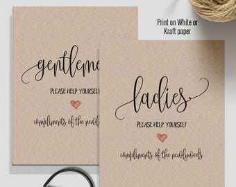 Wedding Bathroom Signs, wedding signs, printable signs, black and white printable, Instant download A520