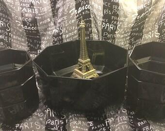 7 piece fruit salad bowl serving set black opaque octagonal glass Arcoroc France contemporary