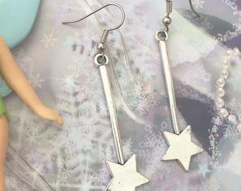 Magic Wand Earrings/ Magical Wand  Earrings/ Star Wand Earrings/ Magic Star Wand Earrings