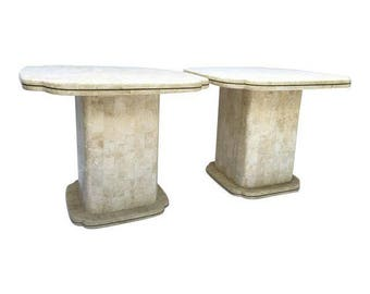 Pair of Vintage Maitland Smith Tessellated Fossil End Tables