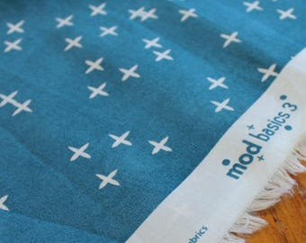 Birch Fabrics - Organic Teal Fabric - Organic Cotton - Teal Quilting Fabric - Mod Basics 3 Wink Teal - Modern Fabric - Modern Organic Fabric