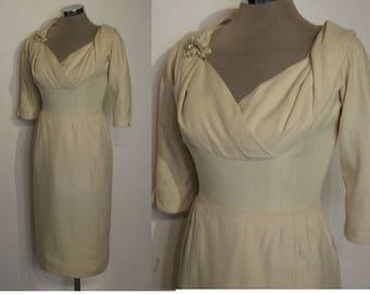 "Beautiful 1950s wool wiggle dress w/ knockout silhouette waist 25 1/2"" petite"