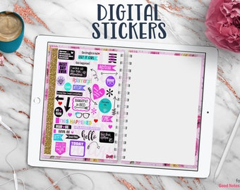 Digital Planner Stickers for Digital Planner with Working Tabs | Plannergirl Sayings