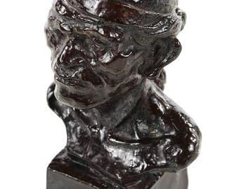 Joe De Yong - Native American Indian -Bronze Bust sculpture -Signed