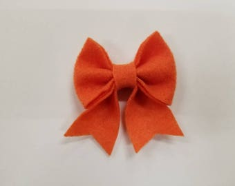 Orange Felt Bow clip
