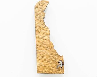 Delaware Wooden Magnet - DE State Magnet - Wooden Delaware Carved Magnet - Wooden DE Charm - Delaware State Magnet