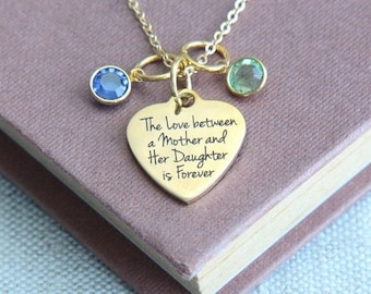 SALE Mother Daughter Necklace, Mother Necklace, Mothers gift from daughter, Personalized Necklace, Birthstone Necklace, Gift for Mother Mom