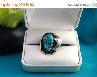 Old 925 Native Southwest Blue Turquoise Nugget Sterling Silver Ring Sz 4.5 to 4.75 Rng #548
