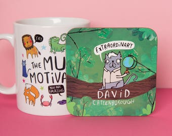 David Cattenborough Coaster - Planet Earth Two - Cute Coaster - Pun  - Gift for him - Gift for her - Motivation - Teen Gift - Mat