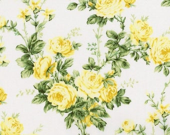 Anniversary Sale Afternoon In the Attic ~Cottage Rose~Yellow Roses~ Cotton Fabric,by Rjr Fabrics,Fast Shipping, F897
