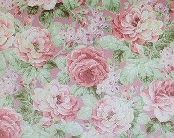 Summer Sale- Prima Roses~Pink Background~Cotton Fabric, Quilt,~Floral,by Quilt Gate~Fast Shipping F590
