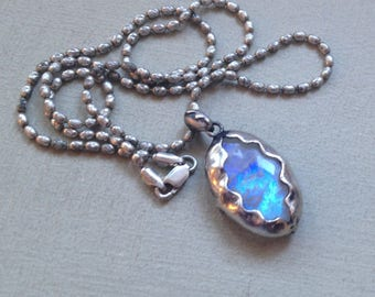 """Beautiful Sterling Silver 15.4g Barrel Bead Chain & Natural Blue Flash Rainbow Moonstone Gemstone Pendant Necklace 20.5"""" Inches"""