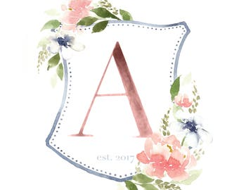 Custom Watercolor Wedding Crest - Family Monogram Crest - Personalized Watercolor Crest - Hand Painted Wedding Crest- Monogram Initials logo