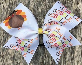 Gobble Gobble Thanksgiving Cheer Bow Hair Bow