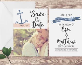 Nautical Save the Date Card, Photograph Save the Date, Save the Date with Photograph, Military Save the Date, Navy Save the Date Card