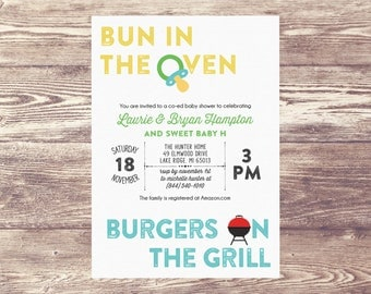 Printed Bun in the Oven, Burgers on the Grill Invitation, Baby Shower Invite, Couples Baby Shower Invitation, Couples Baby Sprinkle Invite