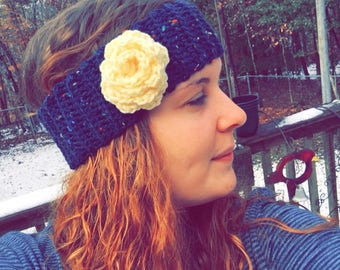 Ear Warmer in Navy Tweed with Yellow Rose