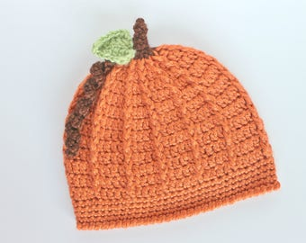 Crocheted Pumpkin Hat, Infant Pumpkin Hat, Baby Pumpkin Hat, Toddler Pumpkin Hat, Halloween Costume, Harvest Costume, Baby Shower Gift