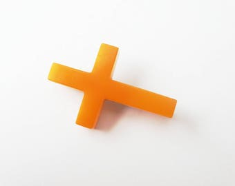 Yellow Butterscotch Bakelite Cross Brooch Religious Symbol Cross Brooch