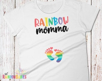 Momma Pregnancy Shirt, Rainbow Pregnancy Shirt, Rainbow Maternity Shirt, Pregnancy Reveal Shirt, Rainbow Baby Shower, Momma Maternity Shirt