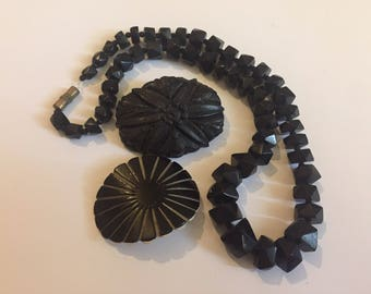Victorian Black Mourning Necklace, Whitby Jet Brooch And Art Deco Monochrome Geometric Bakelite Buckle