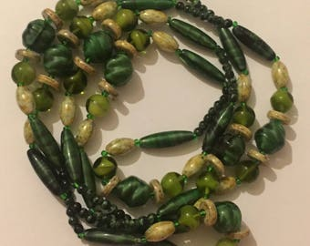 Vintage Green Murano Glass Long Flapper Necklace, Art Deco Style, Geometric