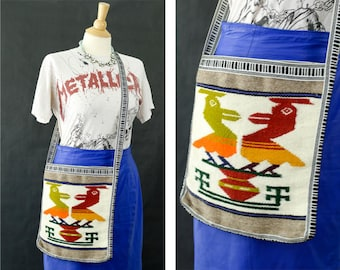 Handmade Multi Colored Bag, Boho Sling Bag, Aztec Southwestern Pattern Purse, Hippie Messenger Bag, Cross Body Bag, Woven Textured Purse