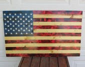 Hand made patriotic wooden slat flag.  Wooden flag.  Made to order.  Great gift for veteran.  Wooden USA flag.