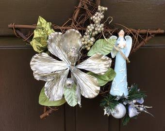 Christmas angel, Grapevine star angel wreath, Grieving, Cemetery, Front Door, winter decor, Christmas wreath,  wreath, Star wreath,